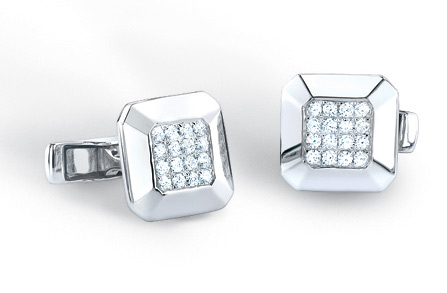 3/4 Carat Diamond Cuff Links in 14K White Gold