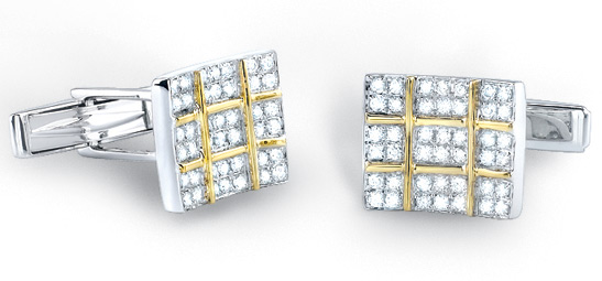 1 Carat Diamond Checkered Cufflinks in 14K Two-Tone Gold