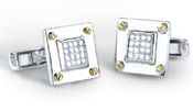 0.40 Carat Diamond Screw-design Cufflinks in 14K Two-Tone Gold
