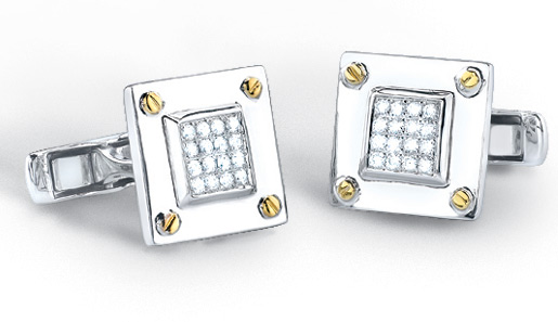0.40 Carat Diamond Screw-design Cufflinks in 14K Two-Tone Gold (Men's Accessories, Apples of Gold)