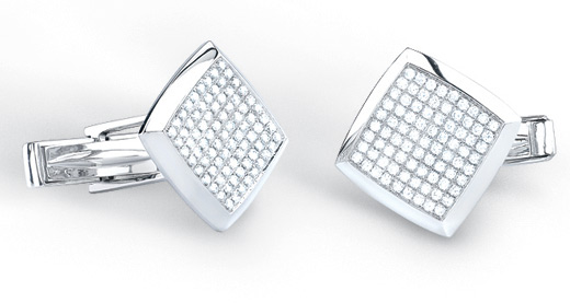 1 Carat Diamond Cuff Links in 14K White Gold (Men's Accessories, Apples of Gold)