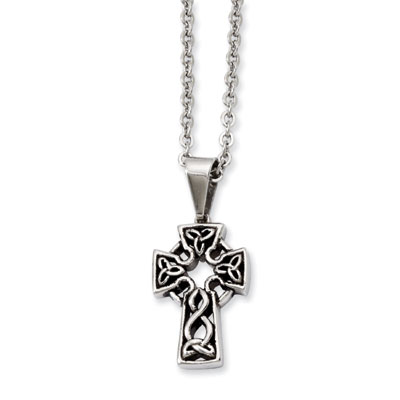 Antiquated Trinity Knot Celtic Cross Pendant in Stainless Steel