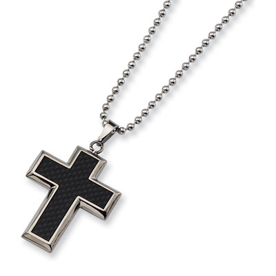 Black Carbon Fiber and Titanium Cross Necklace