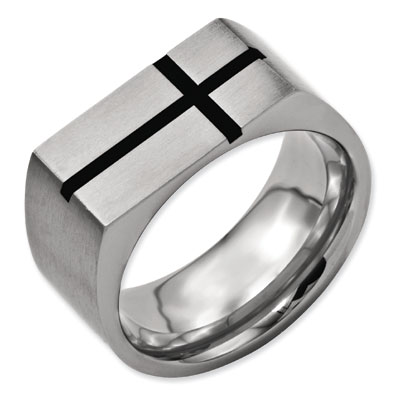Black Enamel Titanium Men's Cross Ring