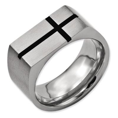 Black Enamel Titanium Men's Cross Ring