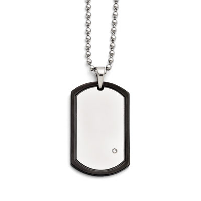 Blacked Lined Stainless Steel Dog Tag Pendant with CZ Accent