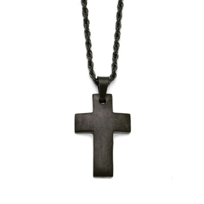 Black Stainless Steel Cross Necklace with Rope Chain