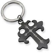 Black Stainless Steel Heraldry Cross Key Ring