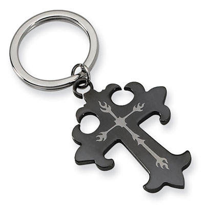 Black Stainless Steel Heraldry Cross Key Ring