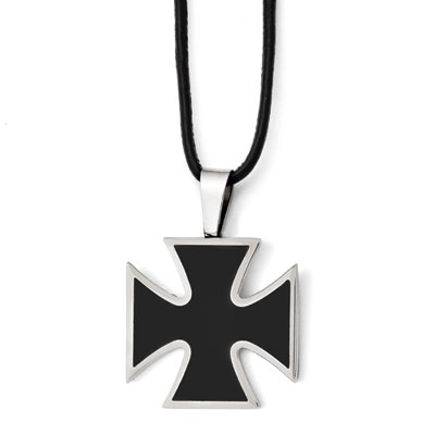 Black Stainless Steel Maltese Cross Pendant