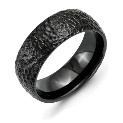 Black Titanium Domed Hammer Finished Wedding Band