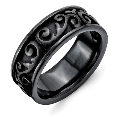 Black Titanium Paisley Filigree Ring