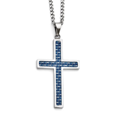 Blue Carbon Fiber Cross Necklace in Stainless Steel