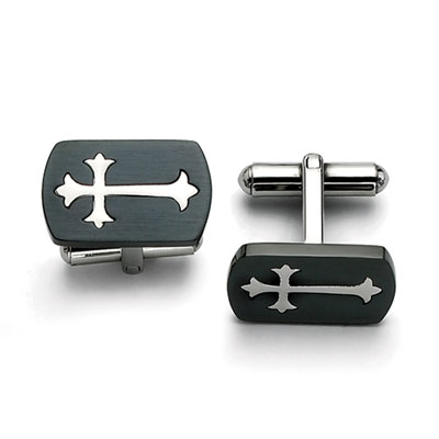 Budded Cross Black Stainless Steel Cuff Links