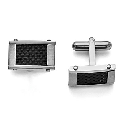 Carbon Fiber and Stainless Steel Cuff Links