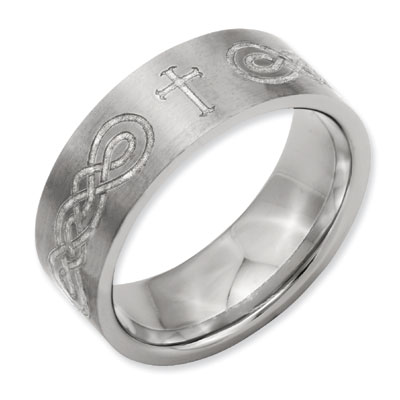 Celtic Infinity Knot Cross Titanium Ring