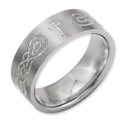 Celtic Infinity Knot Cross Titanium Ring