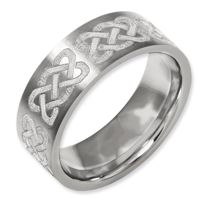 Celtic Knot Laser Design Flat Titanium Band