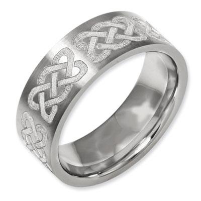 Celtic Knot Laser Design Flat Titanium Band