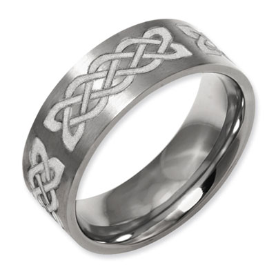 Celtic Laser Etched Flat Titanium Band