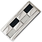 Checkered Black and Grey Carbon Fiber Stainless Steel Money Clip