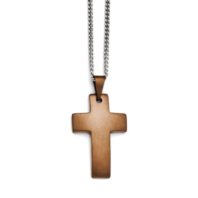 Chocolate Stainless Steel Cross Necklace
