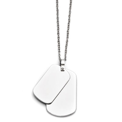 Double Dog Tag  Necklace in Stainless Steel