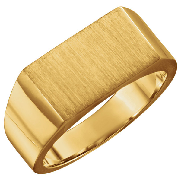 Engravable Rectangular Signet Men's Ring in 10K or 14K Gold