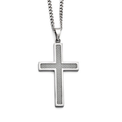 Grey Carbon Fiber Stainless Steel Cross Necklace