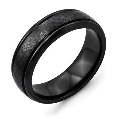 Hammered Black Titanium Brushed Finish Wedding Band Ring