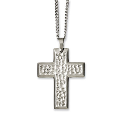 Hammered Stainless Steel Cross Necklace