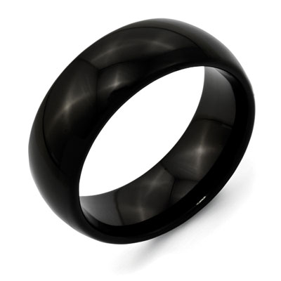 High Polished Black Titanium Wedding Band
