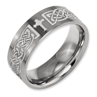 Laser Engraved Celtic Cross Titanium Band