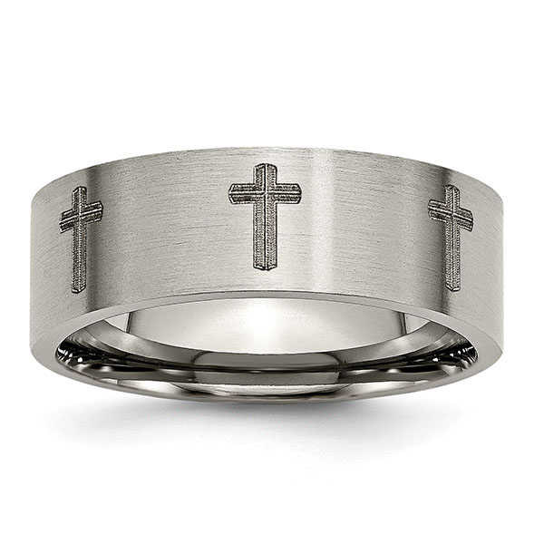 Laser Engraved Crosses Design Titanium Ring