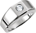 Men's 0.40 Carat Diamond Solitaire Ring, 14K White Gold