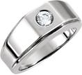Men's 0.40 Carat Diamond Solitaire Ring, 14K White Gold
