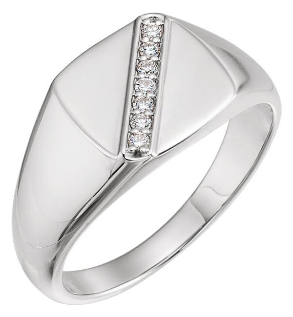 Men's 1/10 Carat Diagonal Design Diamond Ring, 14K White Gold