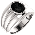 Men's Large White Gold 10x8mm Oval Onyx Ring
