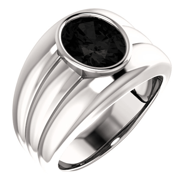 Continuum Sterling Silver Men's Oval Onyx Ring