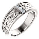Men's 3-Stone Celtic Diamond Ring in 14K White Gold
