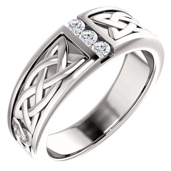 Men's 3-Stone Celtic Diamond Ring in 14K White Gold
