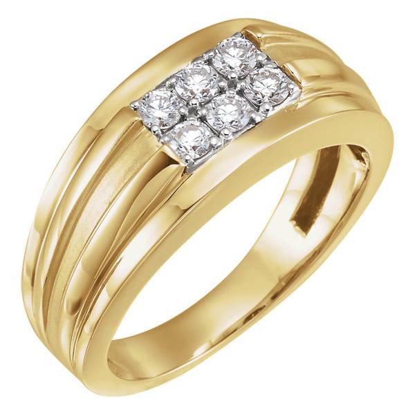 6-Stone 1/2 Carat Men's Diamond Ring in 14K Gold