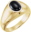 Men's Cab-Set Onyx Ring in Gold
