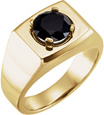 Men's Black Onyx Solitaire Ring in 14K Gold