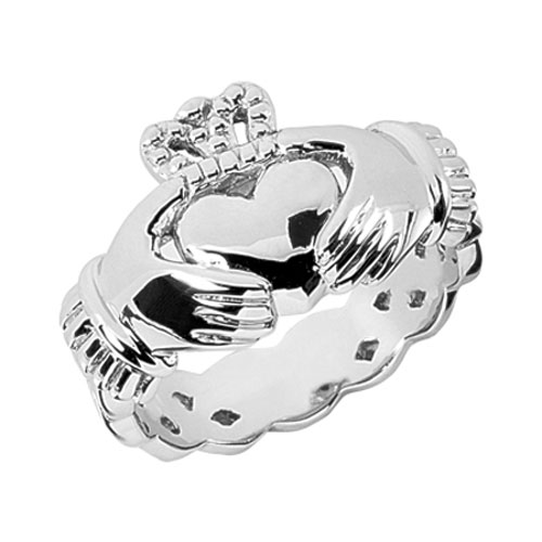 Men's 14K White Gold Celtic Claddagh Ring