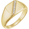 0.10 Carat Diagonal Set Diamond Ring for Men in 14K Yellow Gold