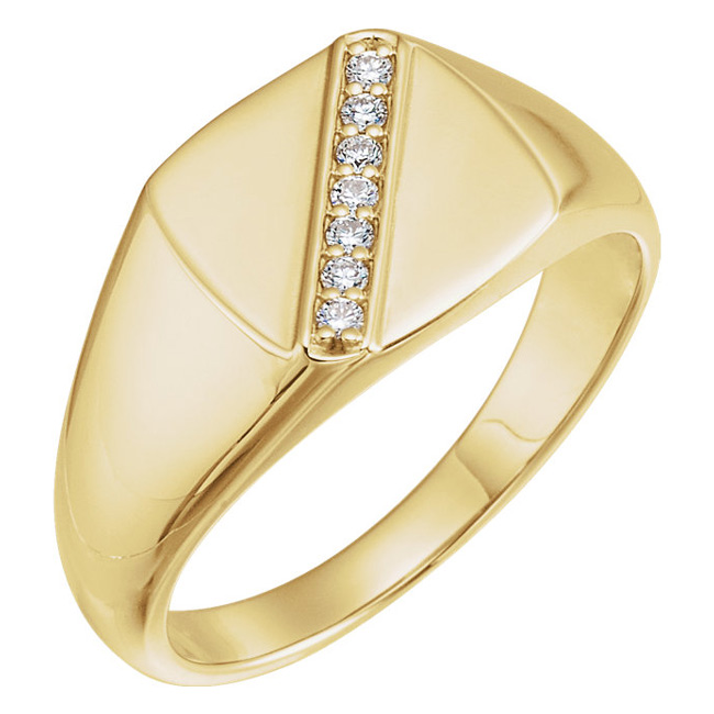 Diagonal-Set Diamond Ring for Men, 14K Gold