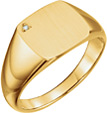 Men's Engravable Diamond Signet Ring, 14K Gold