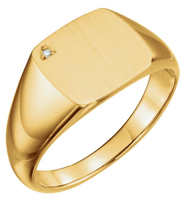 Men's Engravable Diamond Signet Ring, 14K Gold
