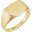 Men's Engravable Shield Signet Ring in 14K Gold